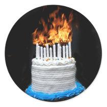 Flaming Birthday Cake Classic Round Sticker