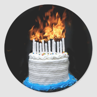 Flaming Birthday Cake Classic Round Sticker