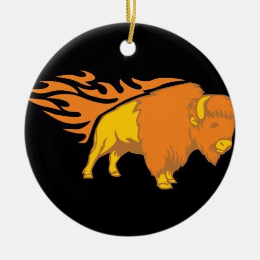 Flaming Bison #2 Ceramic Ornament
