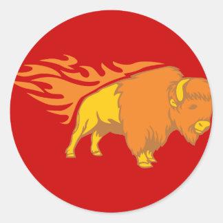 Flaming Bison #2 Classic Round Sticker