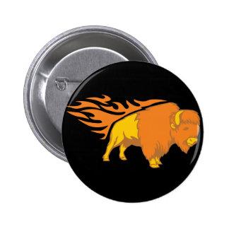 Flaming Bison #2 Pinback Button