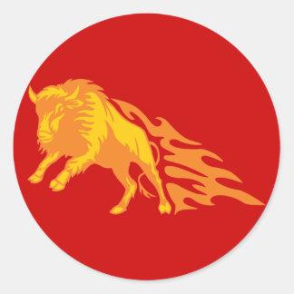 Flaming Bison #3 Classic Round Sticker