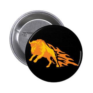 Flaming Bison #3 Pinback Button
