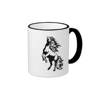 Flaming Black and White Horse Design Mug