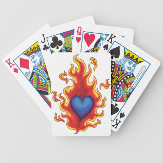 Flaming Blue Heart #2 Bicycle Playing Cards