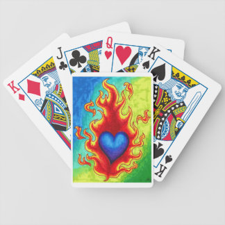 Flaming Blue Heart Bicycle Playing Cards