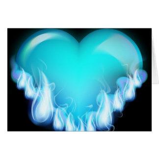 Flaming blue heart greeting card