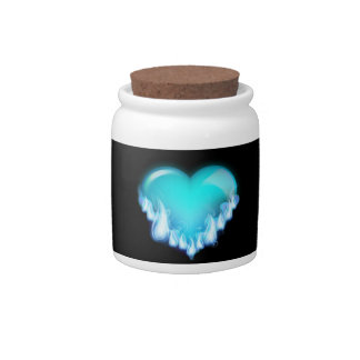 FLAMING BLUE ICE HEART LOVE SWEETHEARTS FLIRTING T CANDY JARS