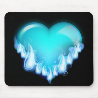 FLAMING BLUE ICE HEART LOVE SWEETHEARTS FLIRTING T MOUSE PAD