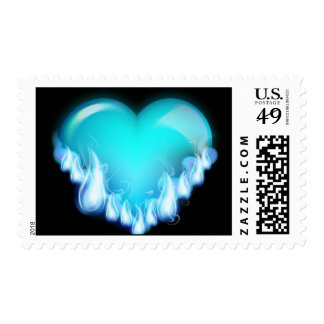 FLAMING BLUE ICE HEART LOVE SWEETHEARTS FLIRTING T POSTAGE STAMPS