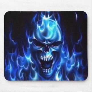 Flaming Blue Skull Mouse Mats