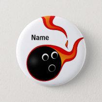 flaming bowling ball badge pinback button