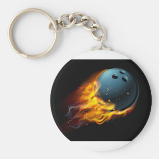 Flaming Bowling Ball Keychain
