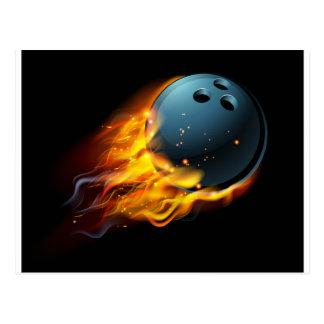 Flaming Bowling Ball Postcard