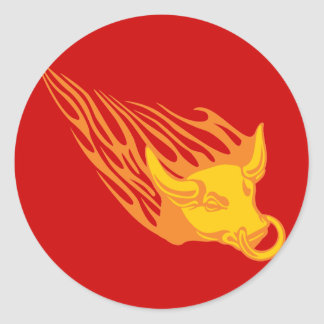 Flaming Bull #1 Classic Round Sticker