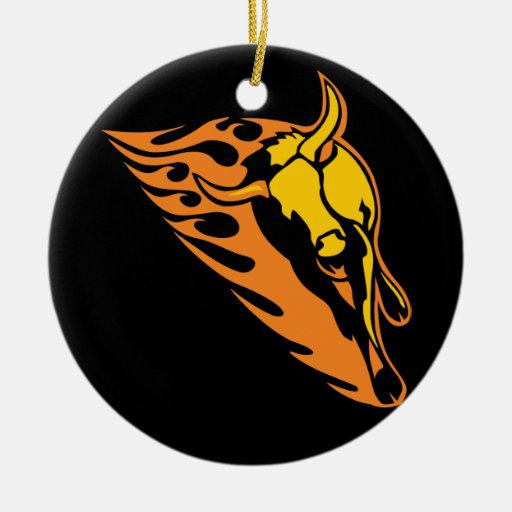 Flaming Bull #2 Double-Sided Ceramic Round Christmas Ornament