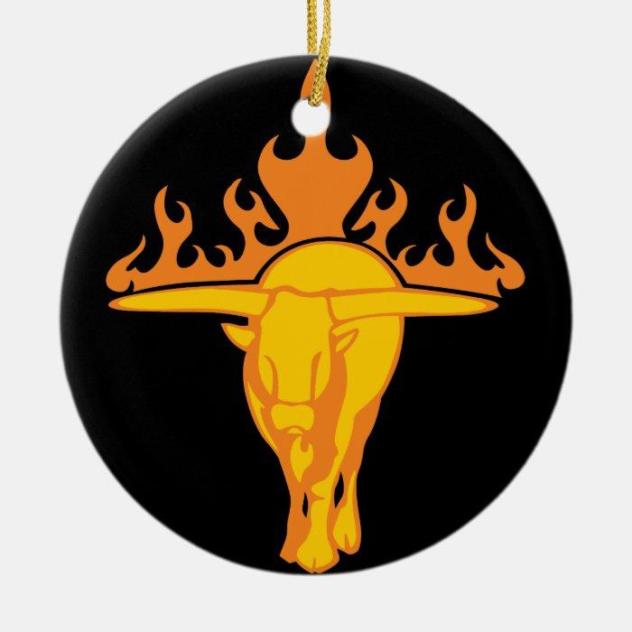 Flaming Bull #3 Ceramic Ornament