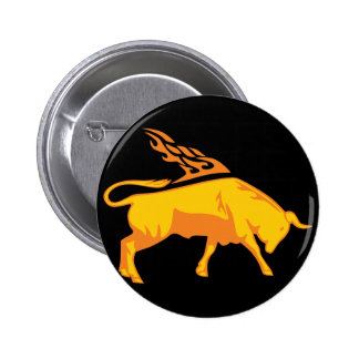 Flaming Bull #7 Button