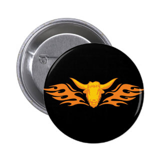 Flaming Bull #8 Button