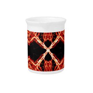 Flaming Burning Kaleidoscope Rose Drink Pitchers