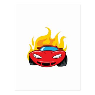 FLAMING CAR POSTCARD