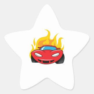 FLAMING CAR STAR STICKER