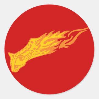 Flaming Cat #3 Classic Round Sticker