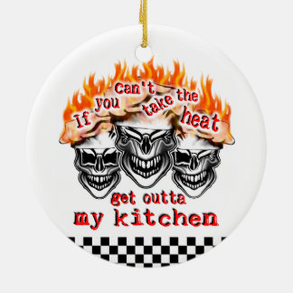 Flaming Chef Skulls: If You Can't Take the Heat Ceramic Ornament