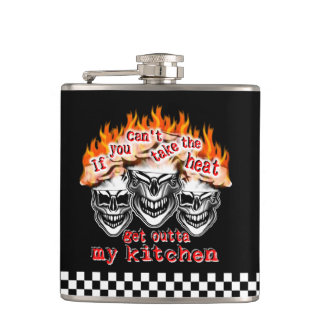 Flaming Chef Skulls: If You Can't Take the Heat Hip Flask