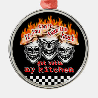 Flaming Chef Skulls: If You Can't Take the Heat Metal Ornament