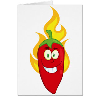 Flaming Chili Pepper Note Cards