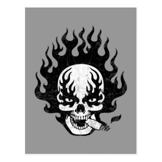 Flaming Cigar Skull -bw Postcard