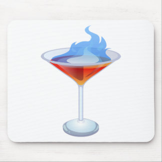 Flaming Cocktail Glass Mouse Pad