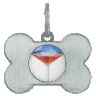 Flaming Cocktail Glass Pet ID Tag