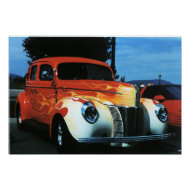 Flaming cool hot rod print