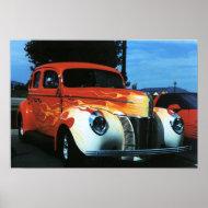 Flaming cool hot rod print