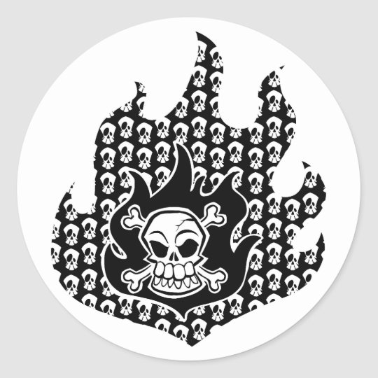 Flaming Cross Bones Classic Round Sticker