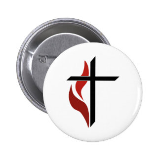 Flaming Cross 2 Inch Round Button