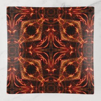 Flaming Cross & Diamonds Square Trinket Tray
