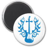 Flaming Cross Guitar Magnets