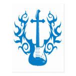 Flaming Cross Guitar Postcard
