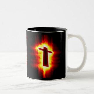 Flaming Cross Mug: Romans 6:23 Two-Tone Coffee Mug