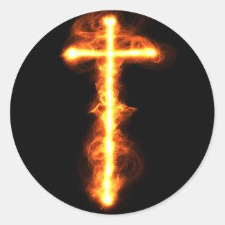 Flaming Cross Sticker