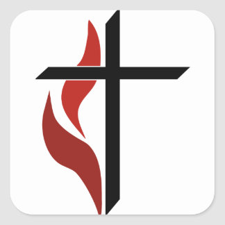 Flaming Cross Square Stickers