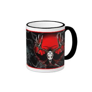 flaming deer skull ringer mug