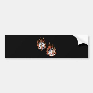 Flaming Dice Bumper Sticker