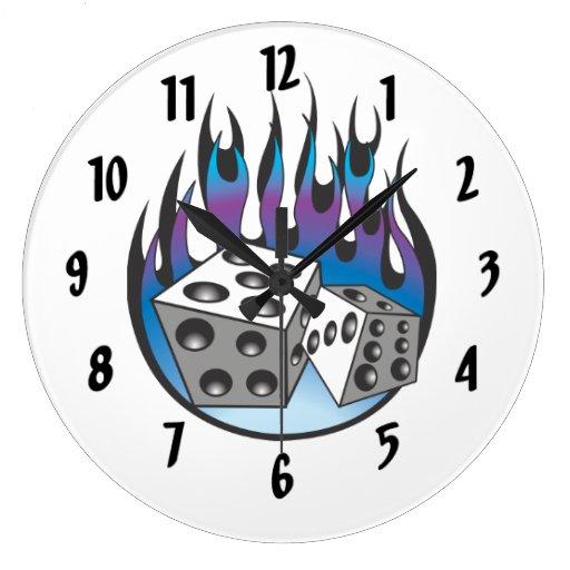 Flaming Dice Clocks