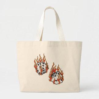Flaming Dice Large Tote Bag