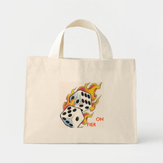 flaming dice,             ON             FIER Mini Tote Bag