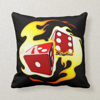 Flaming Dice Throw Pillow